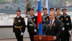 Der russische Präsident Wladimir Putin hält eine Rede während der Veranstaltungen am «Tag des Sieges» in Sewastopol am 9. Mai 2014.