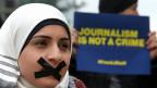 Proteste gegen die Verhaftung der al-Jazeera-Journalisten. Ende Februar 2014.