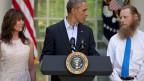 Präsident Obama spricht zu den Eltern des freigelassenen Soldaten.