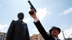 Ein Schauspieler mimt den jungen serbische Nationalist und Attentäter Gavrilo Princip..