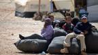Eine syrische Flüchtlingsfamilie im jordanischen Lager Zaatari.