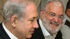 Israels Ministerpräsident Benjamin Netanjahu (links) mit Yaakov Amidror auf einer Tagung in Jerusalem am 29. Juni 2013.