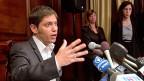 Argentiniens Wirtschaftsminister Axel Kicillof an der Pressekonferenz am 30. Juli im argentinischen Konsulat in New York.