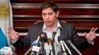 Der argentinische Wirtschaftsminister Axel Kicillof an der Medienkonferenz am 30. Juli im argentinischen Konsulat in New York.