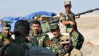Kurdische Soldaten am 5. August in der Nähe von Sinjar, westlich von der Stadt Mosul.