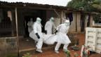 Krankenpfleger in Liberia tragen den Leichnam eines Opfers der Ebola-Epidemie aus einem Haus.