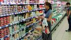 Noch sind die Regale voll. Supermarkt in Moskau am 7. August 2014.