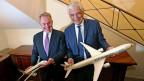 Der CEO der Etihad Airways James Hogan (links) und Alitalia CEO Gabriele Del Torchio.