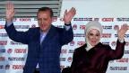 Der neue türkische Präsident Erdogan mit seiner Ehefrau, am 10. August in Ankara.