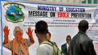 Warnung vor Ebola in Liberias Hauptstadt Monrovia. Gemäss WHO darf nun ein noch nicht an Menschen getestetes Medikament gegen die tödliche Viruserkrankung eingesetzt werden.