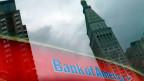 Bank of America-Niederlassung in New York City, USA. Die Bank muss eine Rekordbusse wegen eines Hypothekendeals zahlen.