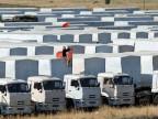 Blockierte Lastwagen des russischen Hilfskonvois am Mittwoch , 20. August 2014.