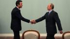 Der russische Ministerpräsident Wladimir Putin (rechts) mit Nato-Generalsekretär Anders Fogh Rasmussen bei ihrem Treffen in Moskau, Russland am 16. Dezember 2009.