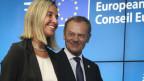 Mogherini und Tusk nach ihrer Wahl an die EU-Spitze.