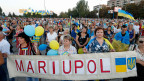 Pro-Ukrainische Kundgebung in Mariupol am 4. September.