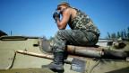 Ukrainischer Soldat in der Nähe von Kramatorsk 4. September.