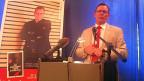 Bodo Ramelow bei einer Veranstaltung, an der ein Buch über ihn selber vorgestellt wird.