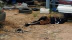 Ein Toter auf einer Strasse der liberischen Hauptstadt Monrovia. Die Toten in Liberia können nicht weggeschafft werden; es gab und gibt zu wenig Personal, zu wenig Leichenwagen, zu wenig Krematorien.