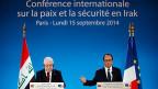 Der irakische Präsident Fuad Masum und Frankreichs Präsident François Hollande bei der Eröffnung der Konferenz für Frieden und Sicherheit in Irak.