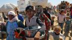 Tausende kurdische Flüchtlinge versuchen seit Tagen, bei Suruc über die Grenze und in die Türkei zu gelangen.