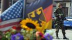 Ein US-Soldat vor dem Hauptquertier in Heidelberg. Nun zieht die US-Armee ab aus Süddeutschland.