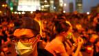 Protestierende im Hongkonger Finanzdistrikt.