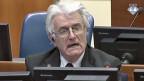 Der ehemalige bosnische Serbenführer Ravon Karadzic während seines Schlussplädoyers vor dem Jugoslawien-Tribunal in Den Haag.