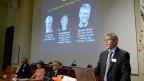 Präsentation der Gewinner und der Gewinnerin des Nobelpreises für Medizin, Karolinska-Institut in Stockholm.