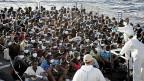 Flüchtlinge aus Afrika nach der Rettung durch «Mare Nostrum».