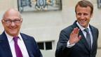 Frankreichs Finanzminister Michel Sapin und der neue französische Wirtschaftsminister Emmanuel Macron.