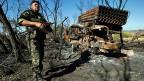 Ein Raketenwerfer der ukrainischen Armee in der Ostukraine.