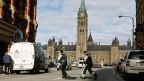 Polizeikräfte in der Nähe des Parlaments in der kanadischen Hauptstadt Ottawa.