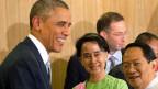 Am Rande des ASEAN-Gipfels in Burma trifft sich US-Präsident Barack Obama mit der burmesischen Oppositionsführerin Aung San SuuKyi.