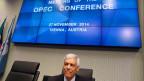 OPEC-Generalsekretär Abdullah al-Badri wartet auf den Beginn der Sitzung der OPEC-Ölminister in der Zentrale der OPEC in Wien am 27. November 2014.