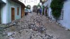 Blick auf die Hochwasserschäden in der Gemeinde Hallstatt, Österreich am 19. Juni 2013.