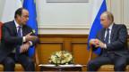 Putin und Hollande trafen sich am Moskauer Flughafen.