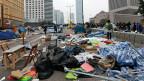 Geräumtes Protest-Camp in Hong Kong.