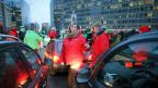 Die Rue de la Loi in Brüssel wird von den Streikenden blockiert.