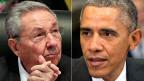 Der kubanische Präsident Raul Castro und US-Präsident Barack Obama.