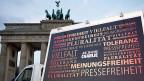 Vorbereitungen auf die Kundgebung für Toleranz am Brandenburger Tor in Berlin.