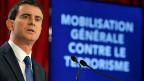 Der französische Premier Manuel Valls informiert an einer Medienkonferenz über Frankreichs Mobilmachung gegen den Terror.