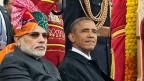 Indiens Premier Narendra Modi und sein Ehrengast am indischen Tag der Republik, US-Präsident Barack Obama.