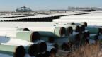 Rohre für die geplante Keystone XL Öl- in Gascoyne, North Dakota, am 14. November 2014.