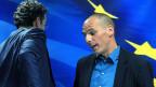 Kühle Verabschiedung zwischen Jeroen Dijsselbloem, dem Chef der Eurogruppe, und dem neuen griechische Finanzminister Yanis Varoufakis, nach einer Medienkonferenz am 30. Januar in Athen.