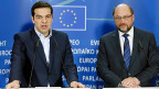 Griechenlands Premier Alexis Tsipras mit EU-Parlamentspräsident Martin Schulz in Brüssel.