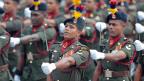 Soldaten der srilankischen Armee an der Parade zum Unabhängigkeitstag in der Hauptstadt Colombo.