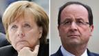 Die deutsche Bundeskanzlerin Merkel und der französische Präsiden Hollande - auf Friedenssuche in der Ukraine.
