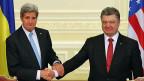 Der US-Aussenminister und der ukrainische Präsident. Im ganzen befinden sich zurzeit  drei US-Minister in der Ukraine.