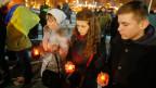 In der ukrainischen Hauptstadt Kiev trauern die Menschen um die gefallenen Soldaten.