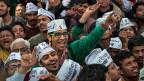Grosser Jubel bei den Aan-Aadmi-Anhängern in Neu Delhi.